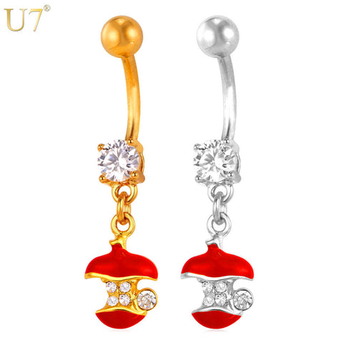 U7 Red Crystal Cute Apple Belly Button Ring Women Body Jewelry Gold/Silver Color Long Navel Ring - All Things Jewelry