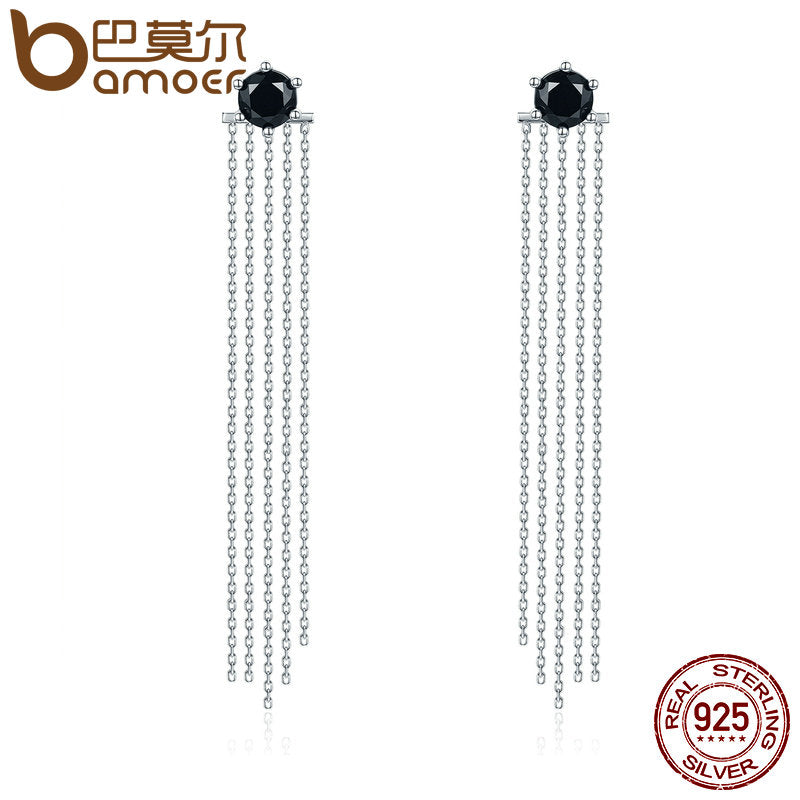 BAMOER Vintage 925 Sterling Silver Double Sided Black CZ Tassel Earrings - All Things Jewelry