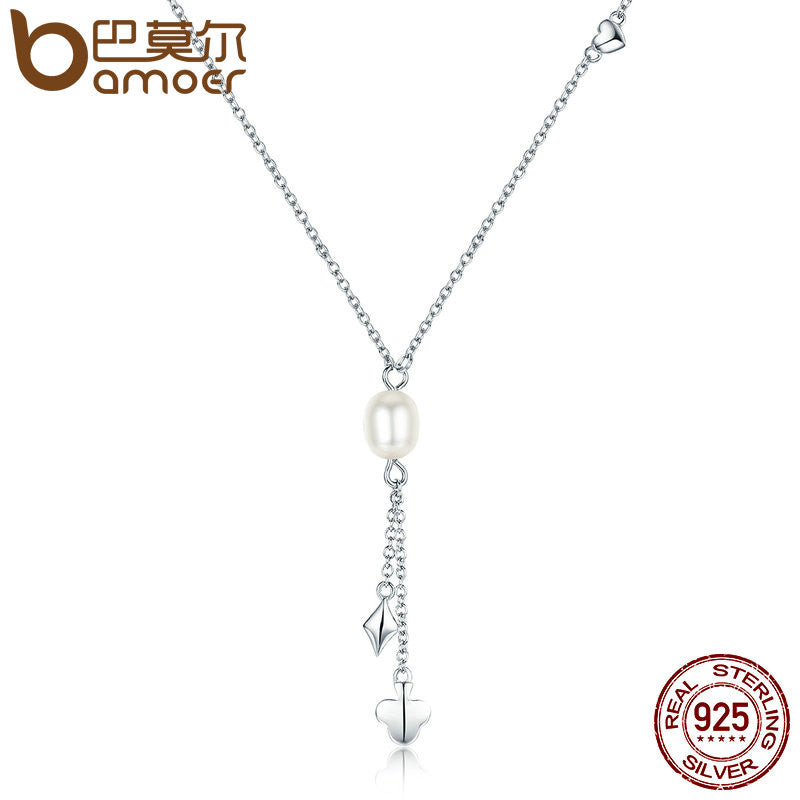 BAMOER 100% Authentic 925 Sterling Silver Freshwater Pearl Poker Tassel Pendant Necklaces Pearl Necklace Jewelry Bijoux SCN077 - All Things Jewelry