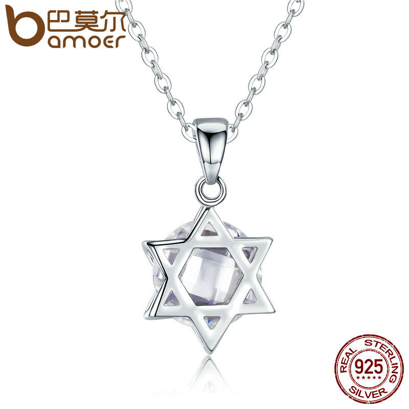 BAMOER Delicate 925 Sterling Silver Six Star Angle Pendant Necklaces with Clear Zircon for Women Geometric Jewelry SCN084 - All Things Jewelry