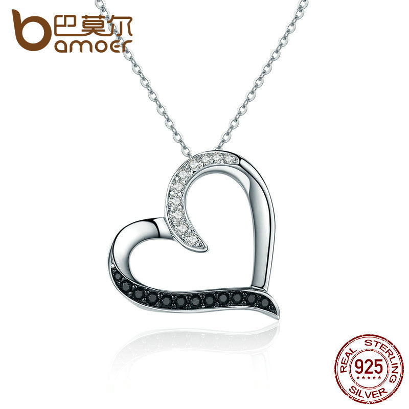 BAMOER 100% Authentic 925 Sterling Silver Classic Heart Clear CZ Pendant Necklaces - All Things Jewelry