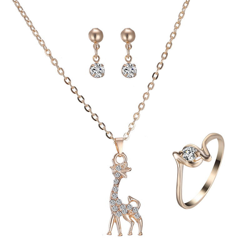 Giraffe Necklace Jewelry Set With Earrings And Ring - All Things Jewelry