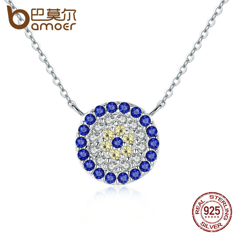 BAMOER Collection 925 Sterling Silver Trendy Round Blue Eyes Clear CZ Pendant Necklace - All Things Jewelry