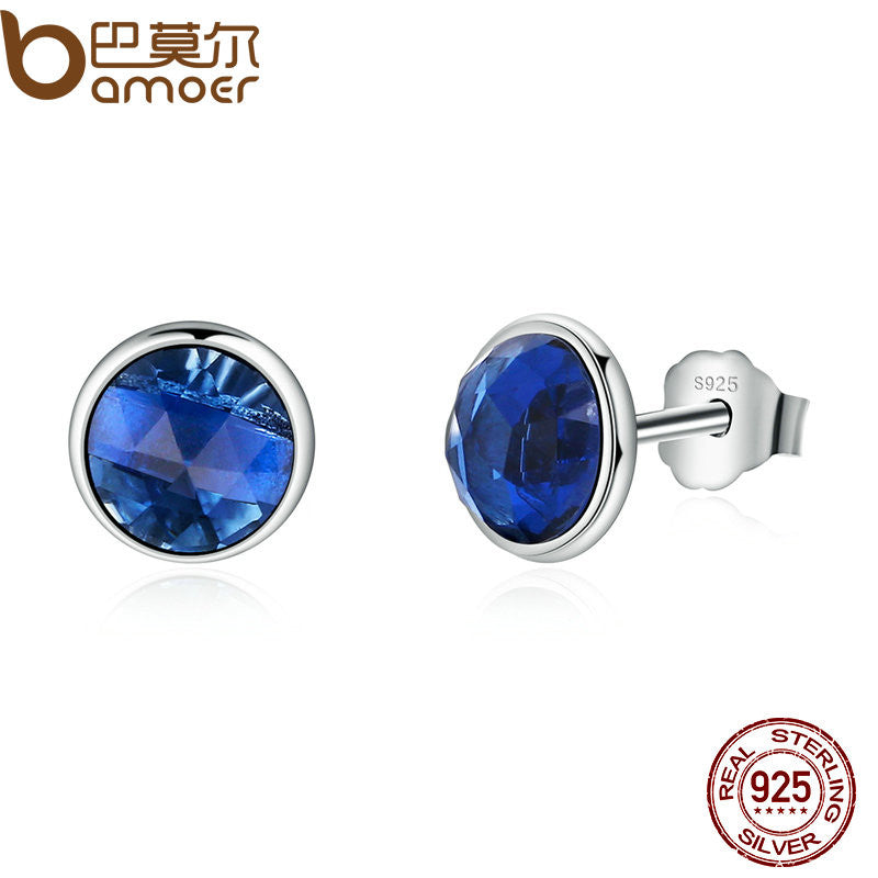 BAMOER Genuine 925 Sterling Silver September Birthstone Droplets Blue Crystal Stud Earrings - All Things Jewelry