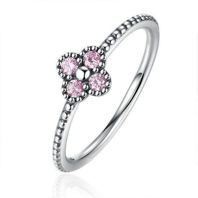 BAMOER 2 Color 100% 925 Sterling Silver Pink & White Clear CZ Romantic Clover Ring - All Things Jewelry