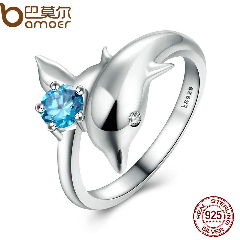 BAMOER Authentic 100% 925 Sterling Silver Dolphin's Love & Blue Crystal Ring - All Things Jewelry