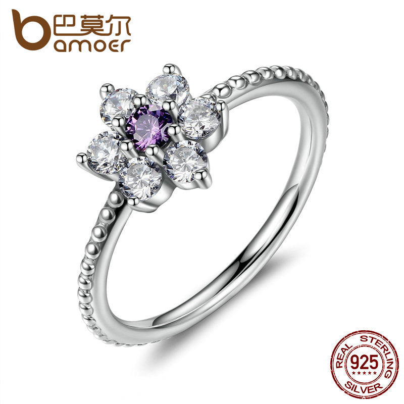 BAMOER 925 Sterling Silver Finger Rings Forget Me Not, Purple & Clear CZ Ring - All Things Jewelry