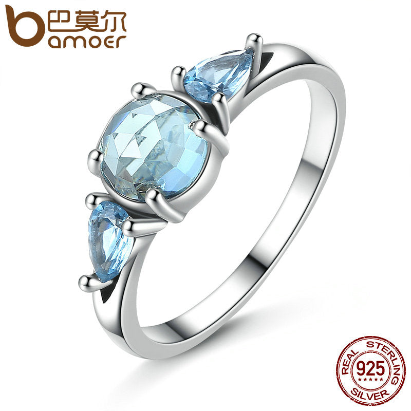 BAMOER 925 Sterling Silver Frost, Moonlight Blue & Sky-Blue Ring - All Things Jewelry