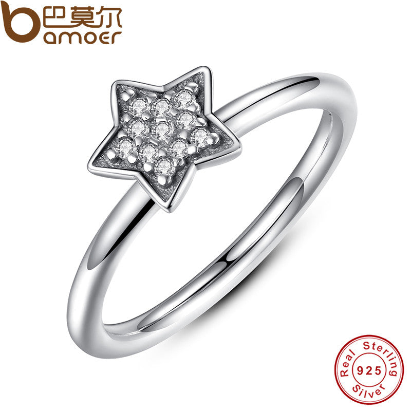 BAMOER Authentic 100% 925 Sterling Silver Crystals Simple Star - All Things Jewelry