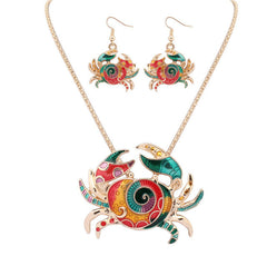8SEASONS Zinc Alloy Crab Necklace Earrings Set - All Things Jewelry
