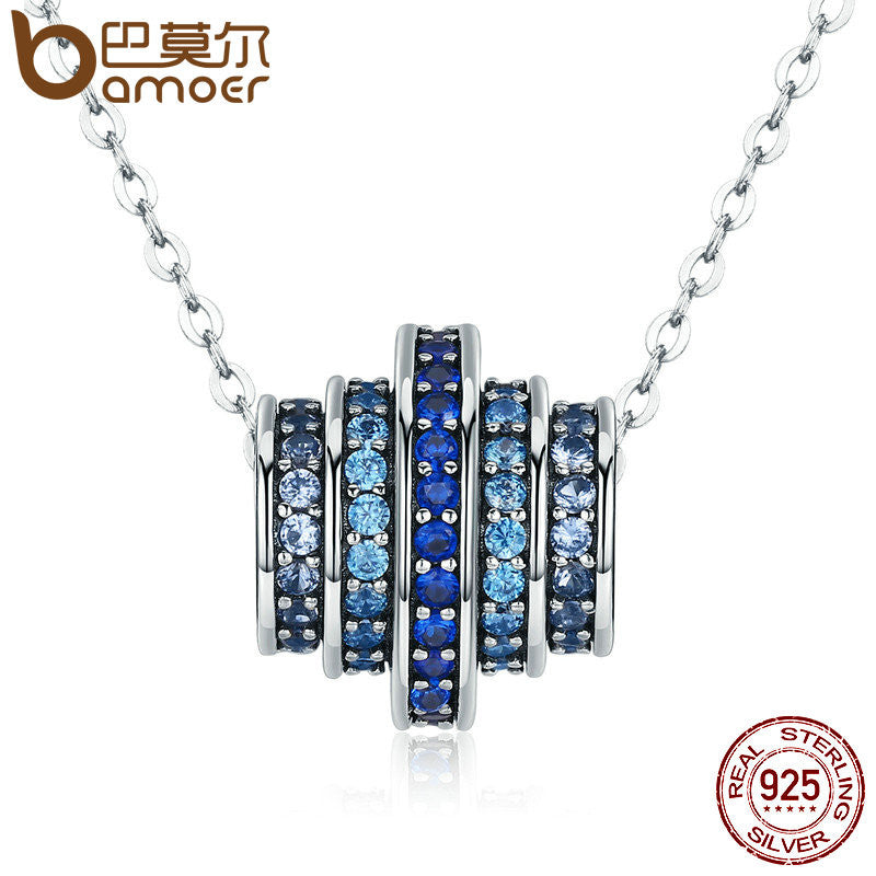 BAMOER Authentic 100% 925 Sterling Silver Gradual Change Round Wheel Blue Melody Pendant Necklace - All Things Jewelry