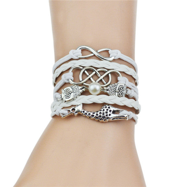 Multi-Strands Infinity Silver Color Owl & Giraffe Charm Braid Bracelet - All Things Jewelry