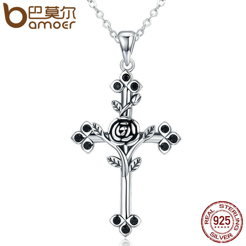 BAMOER Authentic 925 Sterling Silver Rose Flower Leaf Cross Pendant Necklaces for Women Sterling Silver Jewelry Collares SCN091 - All Things Jewelry