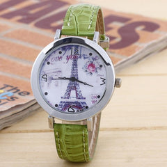 Eiffel Tower Leather Band Quartz Watch - All Things Jewelry