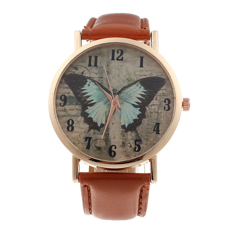Luxury Geneva Butterfly Leather Quartz Watch - All Things Jewelry
