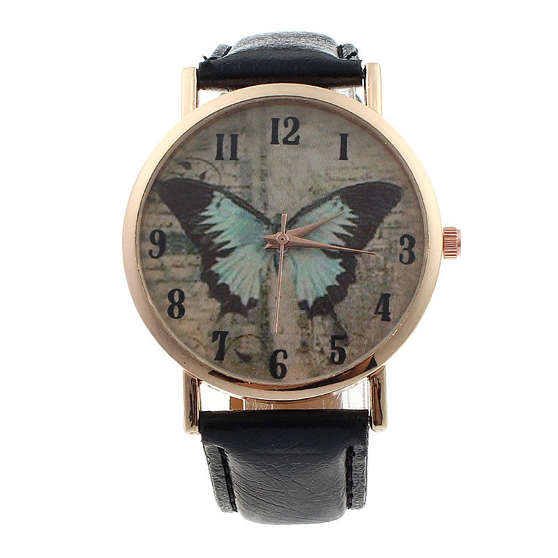 Butterfly Leather Quartz Watch - All Things Jewelry