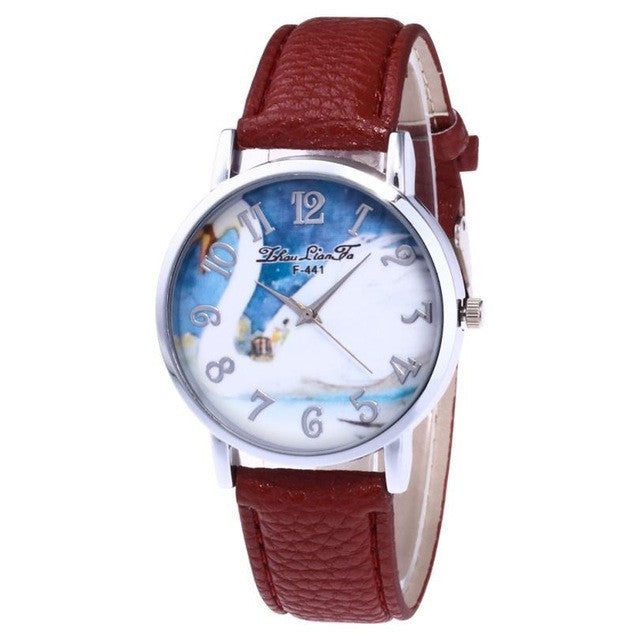 Leather Band Analog Quartz Round Watch - All Things Jewelry