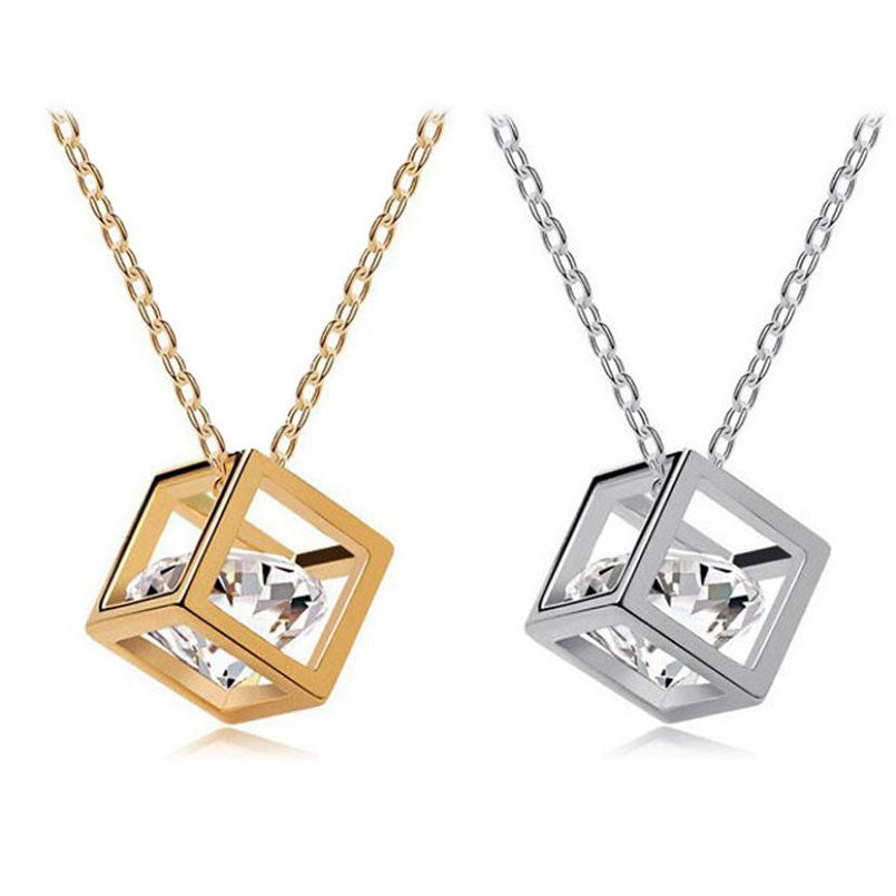 Crystal Rhinestone Square Pendant Alloy Necklace - All Things Jewelry