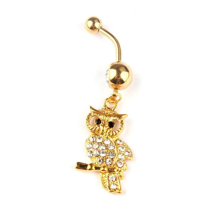 SUSENSTONE  Rhinestone Owl Gold Dangle Body Piercing Jewelry Belly Navel Bar Ring - All Things Jewelry