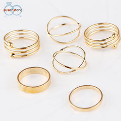 SUSENSTONE 6PCS/Set Fashion Women Lady Ring Jewelry Finger Tip Stacking Rings - All Things Jewelry