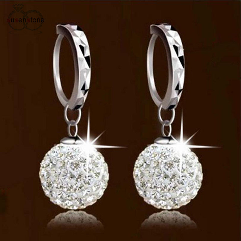 SUSENSTONE Unique Womens Clear Crystal Earring - All Things Jewelry