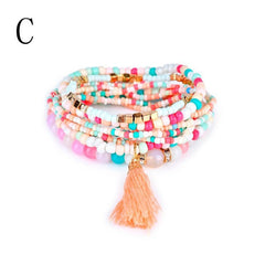 Beaded Bohemian Multi-Layer Acrylic Beaded Bracelet - All Things Jewelry