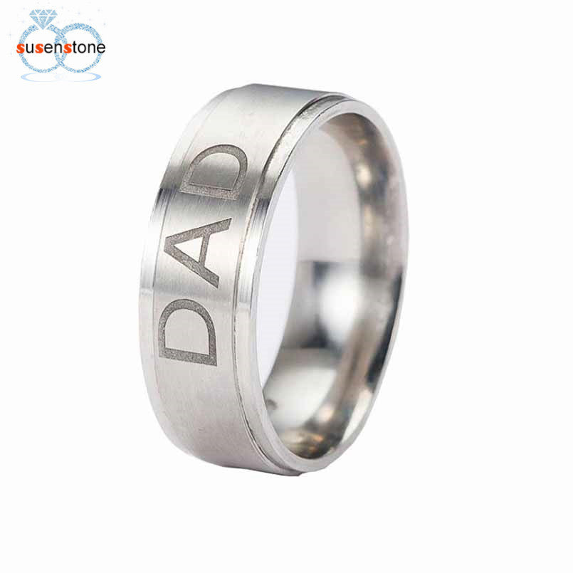 SUSENSTONE New Arrive Stainless Steel Dad Ring Engraved Love You Dad - All Things Jewelry