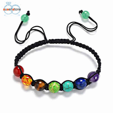 SUSENSTONE 7 Chakra Healing Balance Beads Bracelet - All Things Jewelry