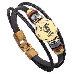 Twelve Constellations Leather Bracelet - All Things Jewelry