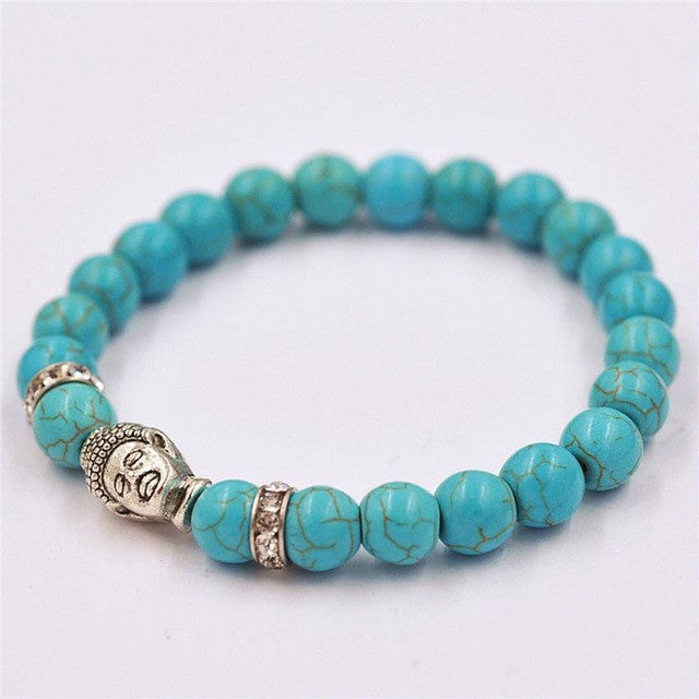 Alloy Rammel Silver Buddha Elastic Beaded Bracelet - All Things Jewelry