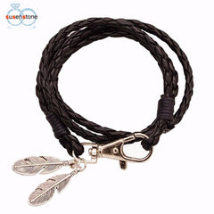 SUSENSTONE Black Leather Cord Multi-layer Braided Feather Bracelet - All Things Jewelry