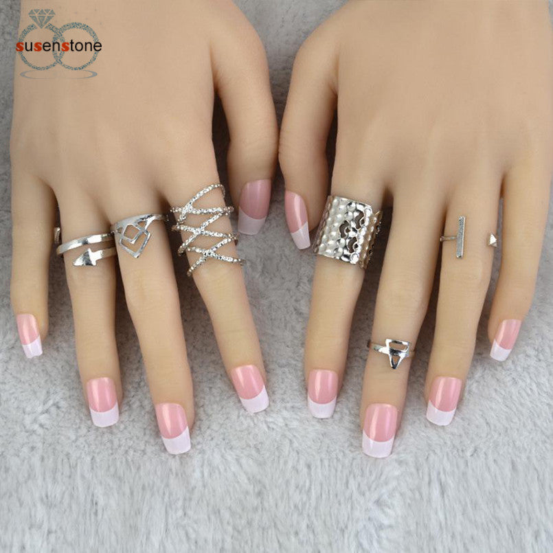 SUSENSTONE 6pcs/Set Women Bohemian Vintage Silver Stack Rings - All Things Jewelry