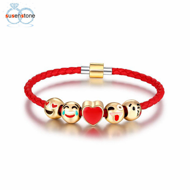 SUSENSTONE Fashion Emoji Charm Bracelet 5 Bead Gold Bracelet - All Things Jewelry