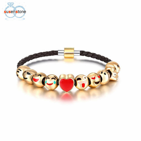 SUSENSTONE Fashion Emoji Charm Bracelet 10 Bead Gold Bracelet - All Things Jewelry