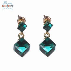 SUSENSTONE Square Crystal Earrings Simple Gem Stud Earrings - All Things Jewelry