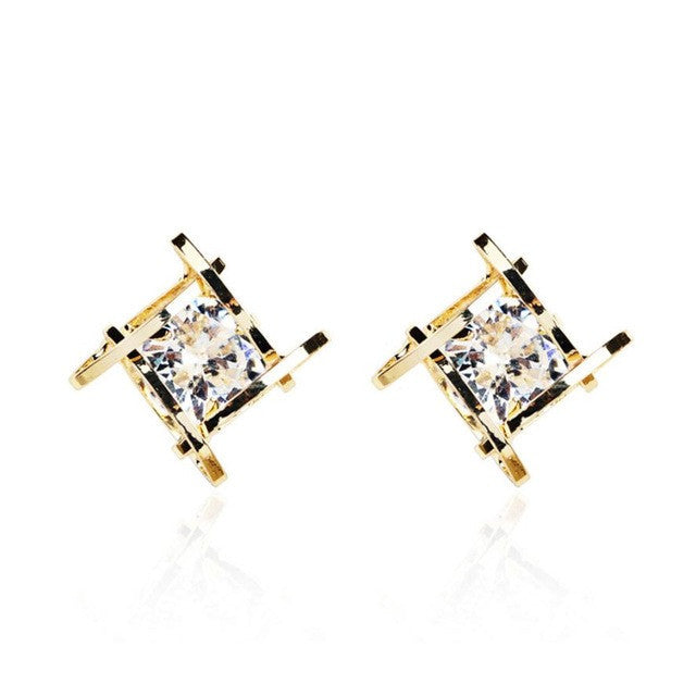 SUSENSTONE Square Hollow Out Square Zircon Earrings - All Things Jewelry