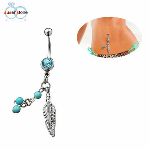 SUSENSTONE Crystal Ball Leaf Dangle Navel Belly Button Barbell Ring - All Things Jewelry