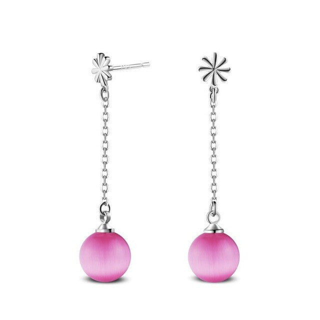 SUSENSTONE Faux Pearl Ball Drop Dangle Earrings - All Things Jewelry