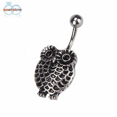 SUSENSTONE Owl Dangle Button Barbell Belly Navel Ring Bar - All Things Jewelry