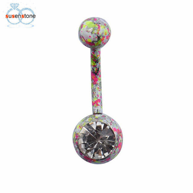 SUSENSTONE Body Piercing Jewelry Crystal Rhinestone Dangle Button Belly Navel Ring Bar - All Things Jewelry