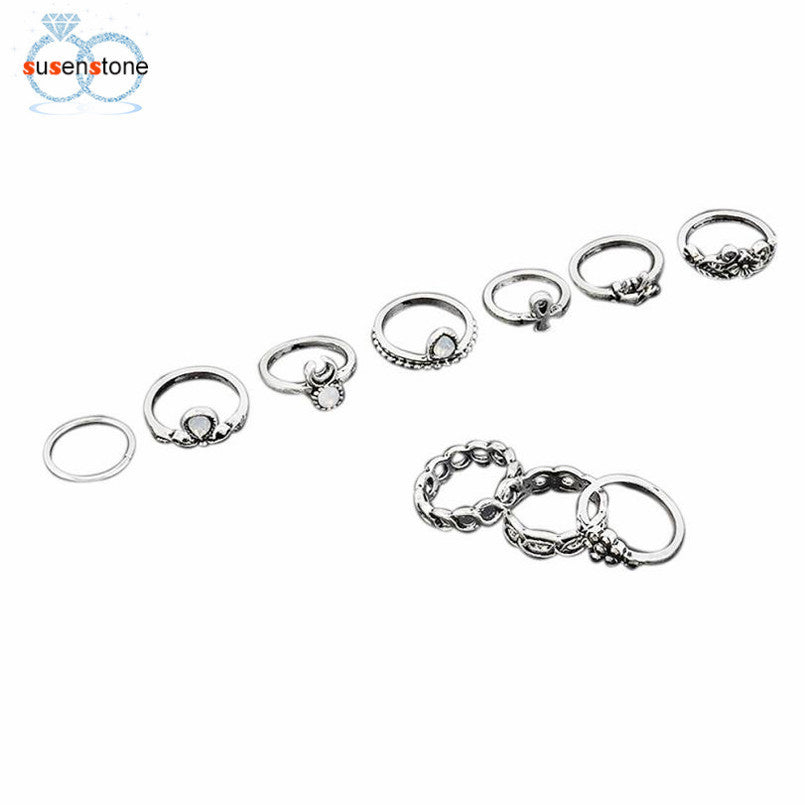 SUSENSTONE Retro 10Pcs/ Set Boho Fashion Arrow Moon Midi Finger Knuckle Rings - All Things Jewelry