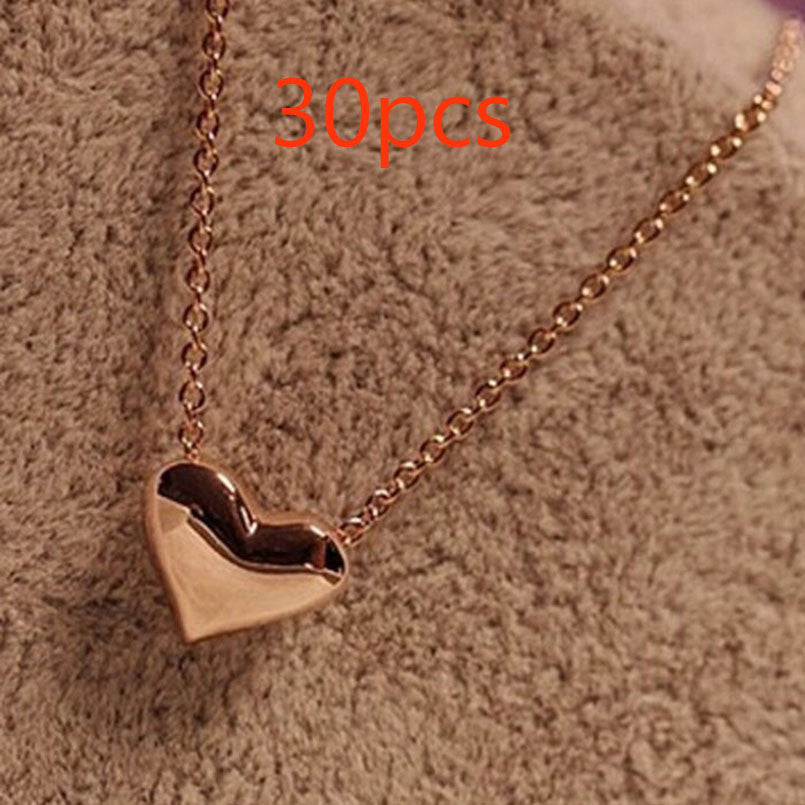 SUSENSTONE Pendant Gold Heart Necklace - All Things Jewelry