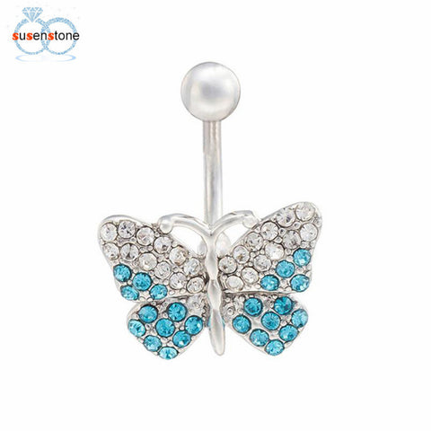 SUSENSTONE Stainless Steel Rhinestone Butterfly Navel Ring - All Things Jewelry