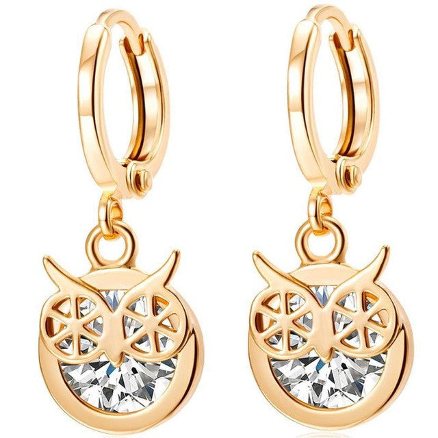 SUSENSTONE Alloy Rhinestone Owl Dangle Earring Star Ear Drop Hoop - All Things Jewelry