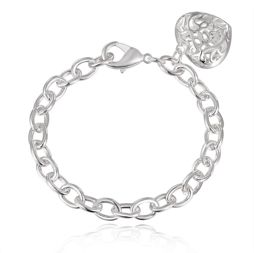 SUSENSTONE Silver Plated Hollowed Out Heart Link Chain Bracelet - All Things Jewelry