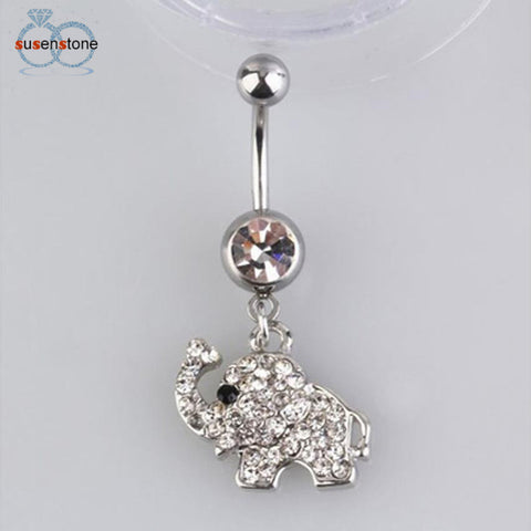 SUSENSTONE Steel Rhinestone Elephant Dangle Navel Ring - All Things Jewelry