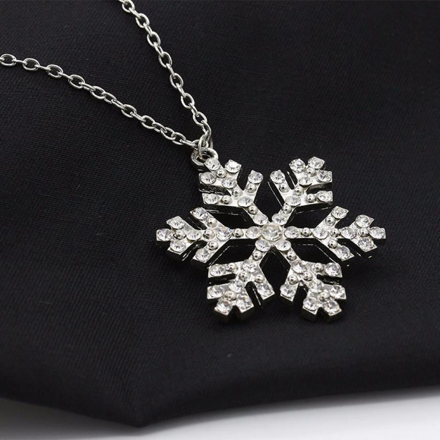 SUSENSTONE Rhinestone Snowflake Necklace Pendants Chain Necklace - All Things Jewelry