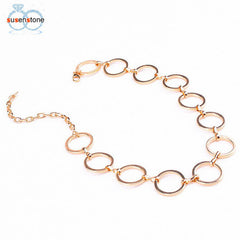 SUSENSTONE Gold Sliver Women Necklace Fashion Metal Pendant Necklace Choker - All Things Jewelry