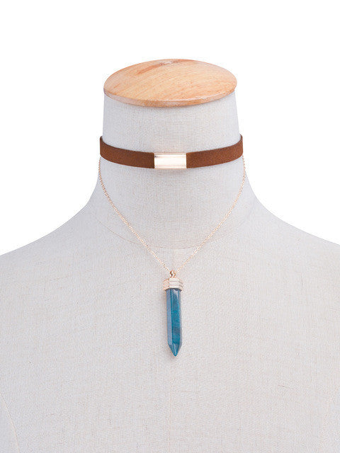 Natural Stone Crystal Double Layer Chain Choker Collar Pendant Necklace - All Things Jewelry