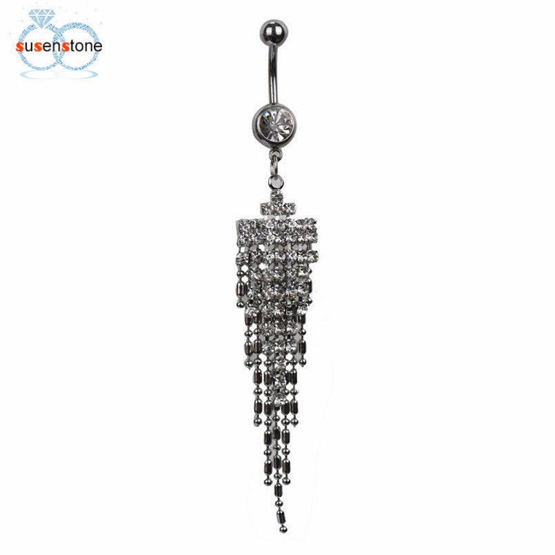 SUSENSTONE Rhinestone Tassel Navel Dangle Button Belly Ring - All Things Jewelry